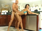 Lisa Ann gets fucked by a monster dick in the kitchen