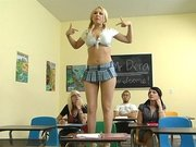 Kagney Linn Karter dressing like a slut showing her goods in the classroom