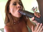 Raquel Devine sucks big black snake with a bit of spit