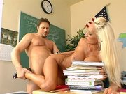 Busty teacher Lachelle Marie getting deeply penetrated on the table