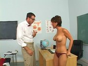 Nasty teachey Kayla Synz showed the shy student how sex can be fun