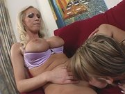 Mindy Main getting fucked in doggie while licking Nikkis pussy