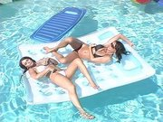 Rachel Roxxx and Savannah Stern having fun in the swimming pool