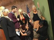 Puma, Eva, Rachel and Abbey sucking two cocks in the court room