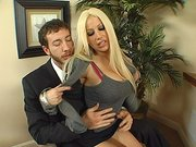 Cock hungry wife Gina Lynn seducing her boss in the office