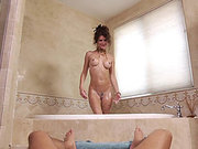 Jenni Lee gives her husband great blowjob and ride in the bathroom