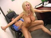 Busty pornstar Nikki Benz riding stiff cock in the office