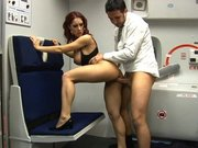 Horny flight attendant Kylee Strutt gets banged on a plane