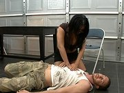 Agent Eva Angelina finds him laying on the ground completely unconscious