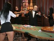 Audrey Bitoni with Eva Angelina and Mikayla playing in the casino