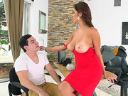 Jazmyn enjoys foreplay with her newest salesman