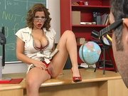 Sexy teacher Sienna West helps her student Keiran learn about sex