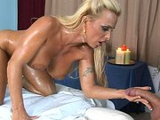 All oiled up Holly Halston sucking meaty cock in the massage clinic