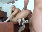 Shyla Stylez has her shaved cunt drilled in the office
