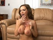 Nikki Benz receives cum in her mouth and spits it on her boobs