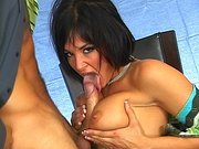 Brunette hottie Tory Lane gives amazing blowjob for a school photographer