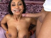 Priya Rai receives messy load around her mouth