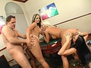 Three hot babes got their big cock hungry pussies pounded good