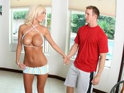 Big titty beauty Lachelle Marie teasing a guy by showing her juggs
