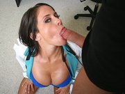 Sexy doctor Savannah Stern sucking patients big cock
