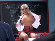 Stunning slut Alexis Monroe showing her tits in the classroom