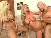 Nikki Benz and Gina Lynn are getting their cunts drilled in 3some