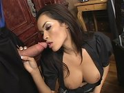 Latin cutie Daisy Marie sucking her boss cock