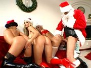 Three cock hungry pornstars gets fucked by Santa in turn