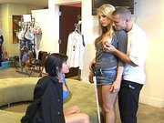 Harmony Rose and Tory Lane sucking cock in the clothing store