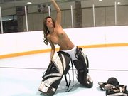 Sexy chick Jodi Bean plays goalie with no jockstrap