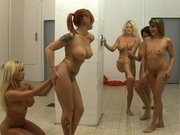 Several girls are trying to take advantage of Shyla Stylez in the shower