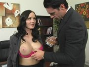 Journalist Melissa Lauren showing him her huge tits