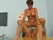 Sexy woman Kayla Synz getting her pussy slammed on the table
