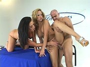 Two Sexy girls Jayden James and August getting slammed on the judges table