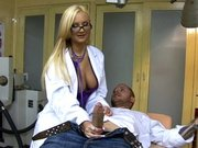 Dr. Amy Reid decides to check his cock before giving him the prescription