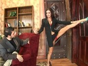 Jessica Jaymes starts to showoff her flexibility to Mr. Long