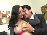 Journalist Melissa Lauren showing him her huge tits