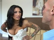 Busty mom Ricki Raxxx measuring his monster cock