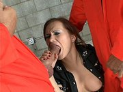 Katja Kassin gets her throat sticked by two big dicks in the prison