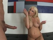 Pornstar Gina Lynn jerking large cock until it cums on her hands