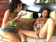 Mariah and Ricki using big dildo for a hard pussy-pounding session