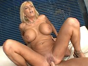 Sexy MILF Misty Vonage bounce her shaved twat on a big cock