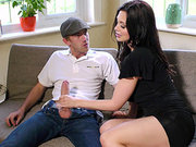 Aletta Ocean giving an okay blowjob for his hard dong