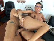 Stunning chick Ricki White gets her pussy slammed in the office