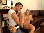 Sex hungry mom Avy Scott gets her tits and feets sucked