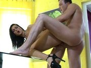 Simone Peach wearing high heels getting her ass fucked doggie