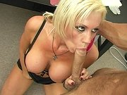 Sexy doctor Tanya James sucking hard cock in the hospital