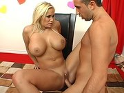 Busty pornstar Shyla Stylez getting slammed on the black chair