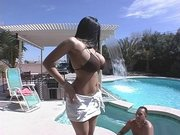 Carmella Bing getting her huge amazing boobies wet in the hot tub