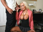 Blonde babe Lichelle Marie giving a head in the office